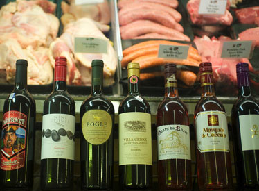 Meat case & wine