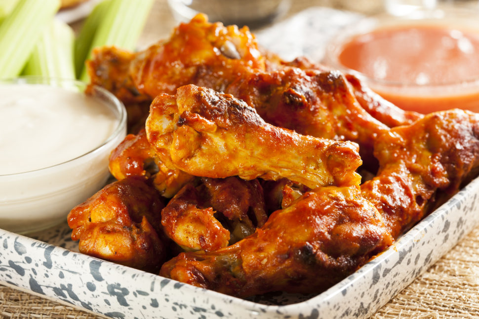 Hot and Spicy Buffalo Chicken Wings with celery